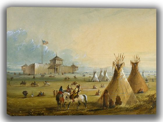 Miller, Alfred Jacob: Fort Laramie. Fine Art Canvas. Sizes: A4/A3/A2/A1 (003827)